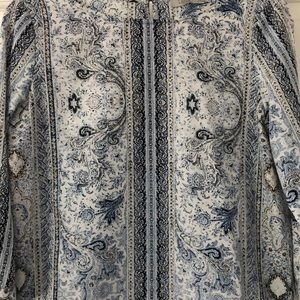 Dalia Tops - Dalia Blue/White Paisley Boho 3/4 Keyhole Top S